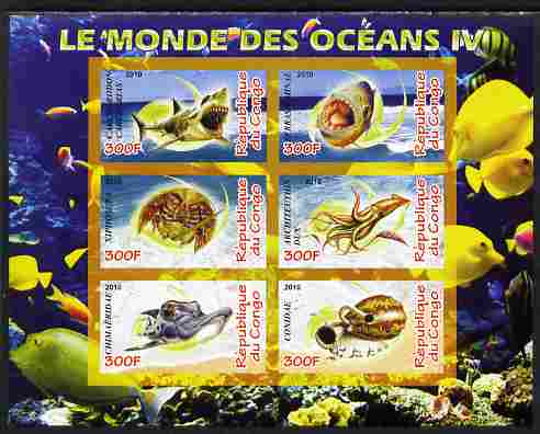 Congo 2010 Ocean Life #04 imperf sheetlet containing 6 values unmounted mint