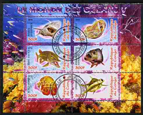 Congo 2010 Ocean Life #05 perf sheetlet containing 6 values fine cto used