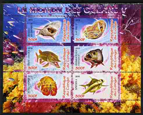 Congo 2010 Ocean Life #05 perf sheetlet containing 6 values unmounted mint