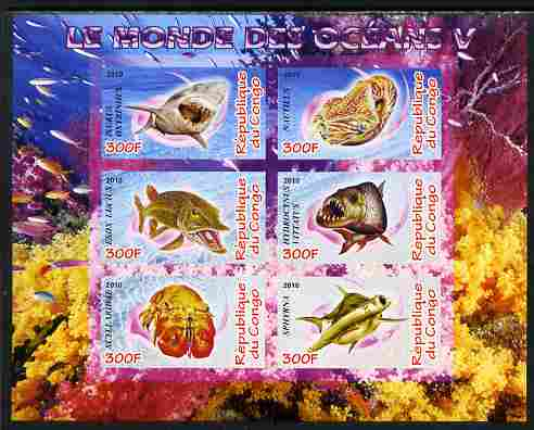 Congo 2010 Ocean Life #05 imperf sheetlet containing 6 values unmounted mint
