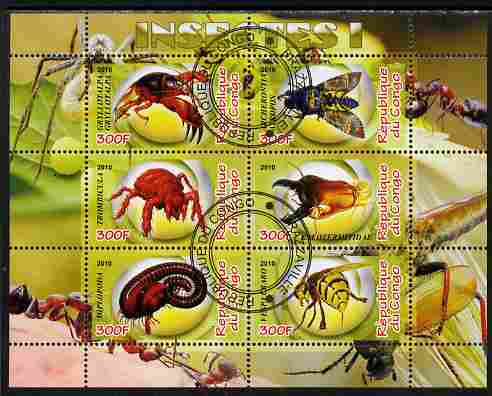 Congo 2010 Insects #01 perf sheetlet containing 6 values fine cto used