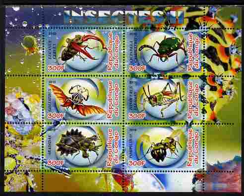 Congo 2010 Insects #02 perf sheetlet containing 6 values unmounted mint, stamps on insects
