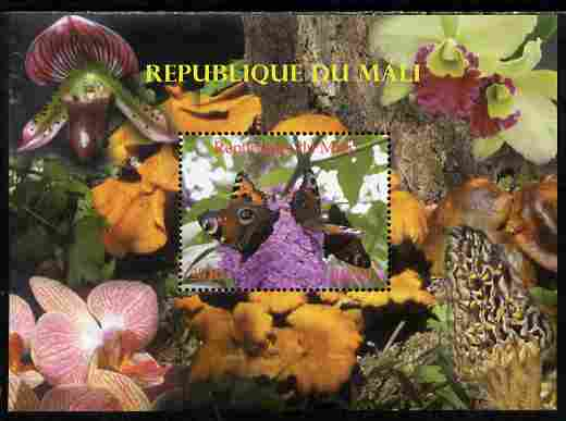 Mali 2010 Butterflies #01 with Orchids & Fungi in background perf s/sheet unmounted mint. Note this item is privately produced and is offered purely on its thematic appeal,