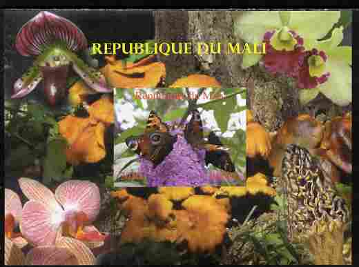 Mali 2010 Butterflies #01 with Orchids & Fungi in background imperf s/sheet unmounted mint. Note this item is privately produced and is offered purely on its thematic appeal,