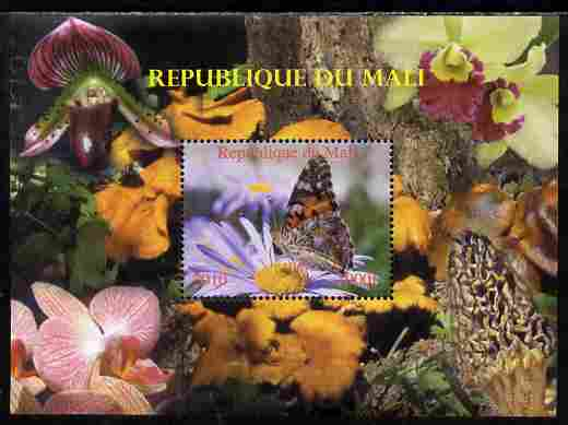 Mali 2010 Butterflies #03 with Orchids & Fungi in background perf s/sheet unmounted mint. Note this item is privately produced and is offered purely on its thematic appeal,