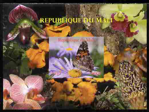 Mali 2010 Butterflies #03 with Orchids & Fungi in background imperf s/sheet unmounted mint. Note this item is privately produced and is offered purely on its thematic appeal,