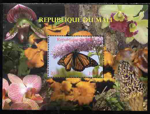 Mali 2010 Butterflies #04 with Orchids & Fungi in background perf s/sheet unmounted mint. Note this item is privately produced and is offered purely on its thematic appeal,