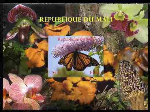Mali 2010 Butterflies #04 with Orchids & Fungi in background imperf s/sheet unmounted mint. Note this item is privately produced and is offered purely on its thematic appeal,