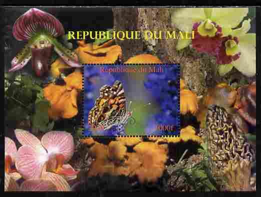 Mali 2010 Butterflies #05 with Orchids & Fungi in background perf s/sheet unmounted mint. Note this item is privately produced and is offered purely on its thematic appeal,