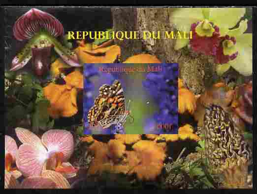 Mali 2010 Butterflies #05 with Orchids & Fungi in background imperf s/sheet unmounted mint. Note this item is privately produced and is offered purely on its thematic appeal,