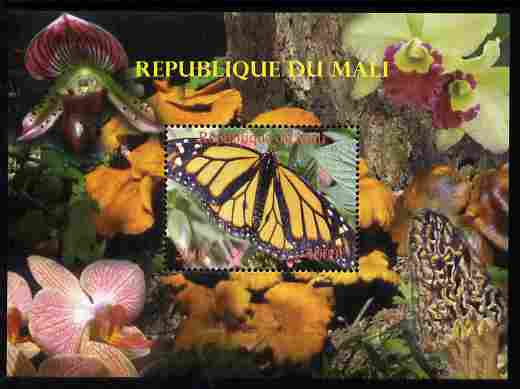 Mali 2010 Butterflies #06 with Orchids & Fungi in background perf s/sheet unmounted mint. Note this item is privately produced and is offered purely on its thematic appeal,