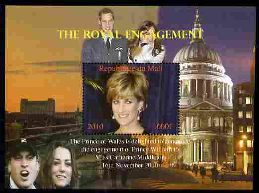 Mali 2010 Royal Engagement (William & Kate) #02 perf s/sheet unmounted mint. Note this item is privately produced and is offered purely on its thematic appeal,