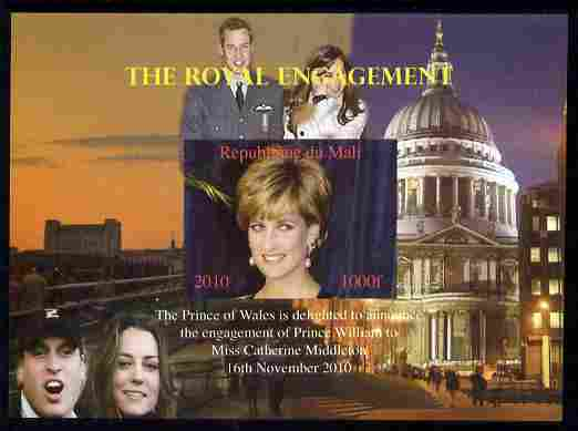 Mali 2010 Royal Engagement (William & Kate) #02 imperf s/sheet unmounted mint. Note this item is privately produced and is offered purely on its thematic appeal,