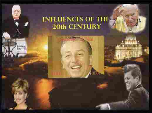 Mali 2010 Influences of the 20th Century #02 (Churchill, Diana, Disney, JFK & The Pope) imperf s/sheet unmounted mint. Note this item is privately produced and is offered purely on its thematic appeal,