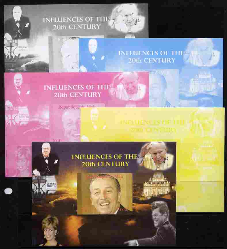 Mali 2010 Influences of the 20th Century #02 (Churchill, Diana, Disney, JFK & The Pope) s/sheet - the set of 5 imperf progressive proofs comprising the 4 individual colours plus all 4-colour composite, unmounted mint