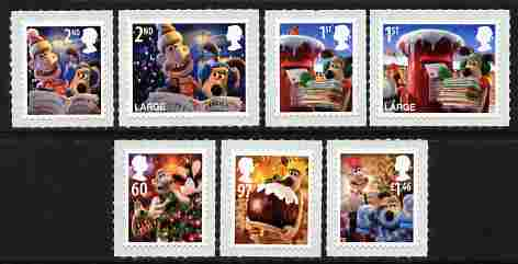 Great Britain 2010 Christmas with Wallace & Gromit self-adhesive perf set of 7 unmounted mint