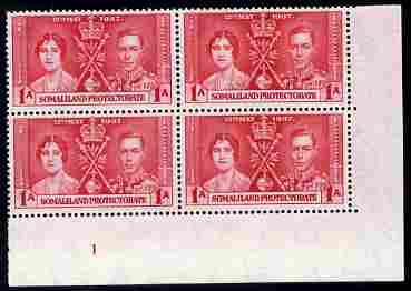 Somaliland 1937 KG6 Coronation 1a corner plate block of 4 (plate 1) unmounted mint (Coronation plate blocks are rare) SG 90