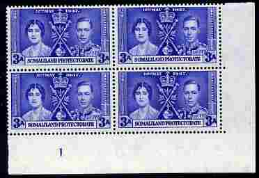 Somaliland 1937 KG6 Coronation 3a corner plate block of 4 (plate 1) unmounted mint (Coronation plate blocks are rare) SG 92