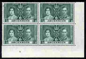 Ascension 1937 KG6 Coronation 1d corner plate block of 4 (part plate 1) unmounted mint (Coronation plate blocks are rare) SG 35