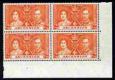 Ascension 1937 KG6 Coronation 2d corner plate block of 4 (plate 1) unmounted mint (Coronation plate blocks are rare) SG 36