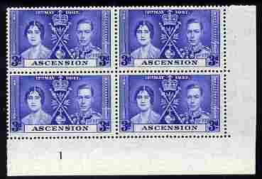 Ascension 1937 KG6 Coronation 3d corner plate block of 4 (plate 1) unmounted mint (Coronation plate blocks are rare) SG 37