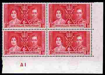 Bechuanaland 1937 KG6 Coronation 1d corner plate block of 4 (plate A1) unmounted mint (Coronation plate blocks are rare) SG 115