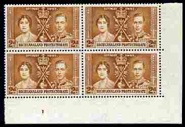 Bechuanaland 1937 KG6 Coronation 2d corner plate block of 4 (plate 1) unmounted mint (Coronation plate blocks are rare) SG 116