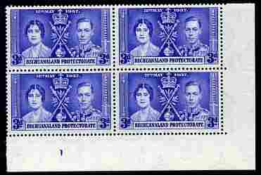 Bechuanaland 1937 KG6 Coronation 3d corner plate block of 4 (plate 1) unmounted mint (Coronation plate blocks are rare) SG 117