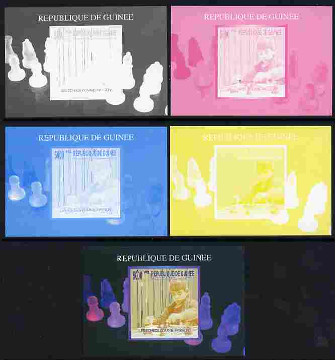 Guinea - Conakry 2010 The Passion of Chess #01 individual deluxe sheet - the set of 5 imperf progressive proofs comprising the 4 individual colours plus all 4-colour composite, unmounted mint