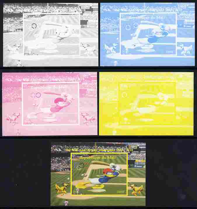Mali 2010 The 55th Anniversary of Disneyland - Baseball #1 individual deluxe sheet - the set of 5 imperf progressive proofs comprising the 4 individual colours plus all 4-colour composite, unmounted mint, stamps on disney, stamps on films, stamps on cinema, stamps on movies, stamps on cartoons, stamps on sport, stamps on baseball