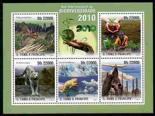 St Thomas & Prince Islands 2010 International Year of Biodiversity perf sheetlet containing 5 values unmounted mint