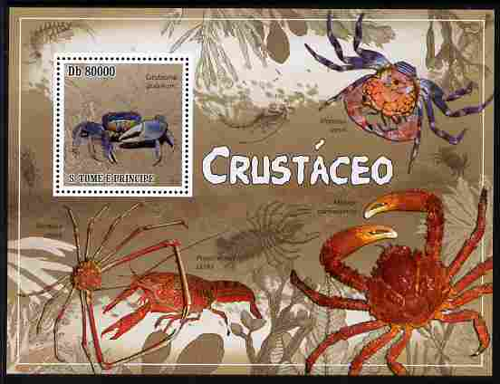 St Thomas & Prince Islands 2010 Crustaceans perf m/sheet unmounted mint