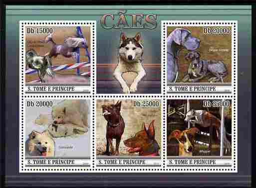 St Thomas & Prince Islands 2010 Dogs perf sheetlet containing 5 values unmounted mint