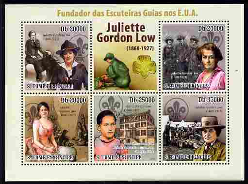 St Thomas & Prince Islands 2010 Juliette Gordon Low (Girl Scouts of America) perf sheetlet containing 5 values unmounted mint