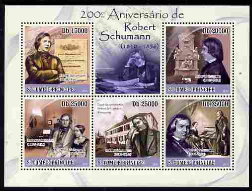 St Thomas & Prince Islands 2010 200th Birth Anniversary of Robert Schumann perf sheetlet containing 5 values unmounted mint