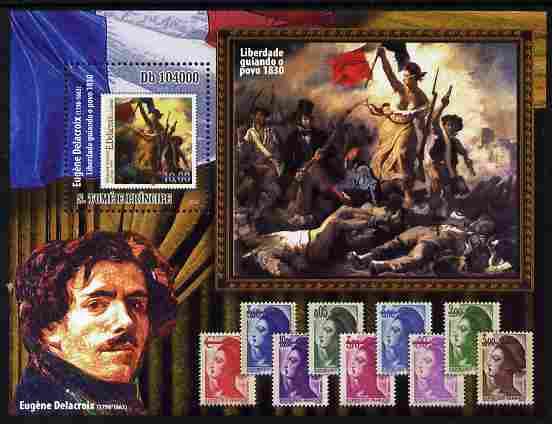 St Thomas & Prince Islands 2010 Stamp On Stamp - Eugene Delacroix perf m/sheet unmounted mint