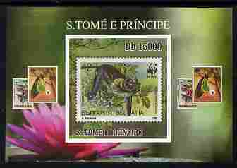 St Thomas & Prince Islands 2010 Stamp On Stamp - WWF Bat (Bulgaria) individual imperf deluxe sheet unmounted mint. Note this item is privately produced and is offered purely on its thematic appeal