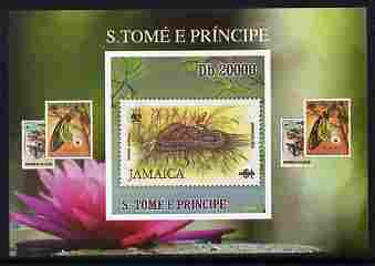 St Thomas & Prince Islands 2010 Stamp On Stamp - WWF Boa Snake (Jamaica) individual imperf deluxe sheet unmounted mint. Note this item is privately produced and is offered purely on its thematic appeal