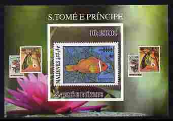 St Thomas & Prince Islands 2010 Stamp On Stamp - WWF Anenome Fish (Maldive Islands) individual imperf deluxe sheet unmounted mint. Note this item is privately produced and is offered purely on its thematic appeal
