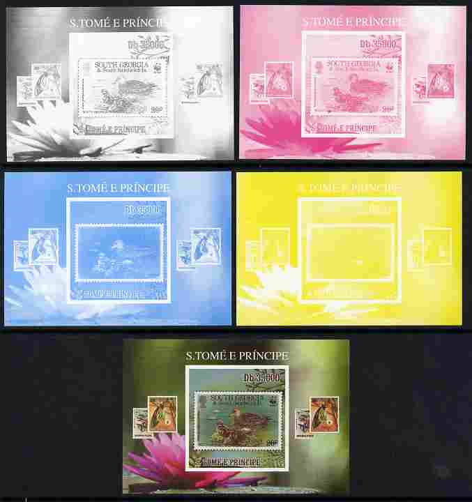 St Thomas & Prince Islands 2010 Stamp On Stamp - WWF Ducks (South Georgia) individual deluxe sheet - the set of 5 imperf progressive proofs comprising the 4 individual colours plus all 4-colour composite, unmounted mint