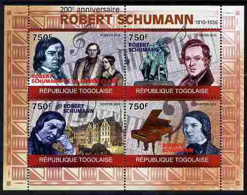 Togo 2010 200th Birth Anniversary of Robert Schumann perf sheetlet containing 4 values unmounted mint