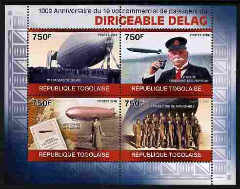 Togo 2010 Centenary of First Commercial Flight of Airship Delag perf sheetlet containing 4 values unmounted mint
