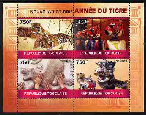 Togo 2010 Chinese New Year - Year of te Tiger perf sheetlet containing 4 values unmounted mint
