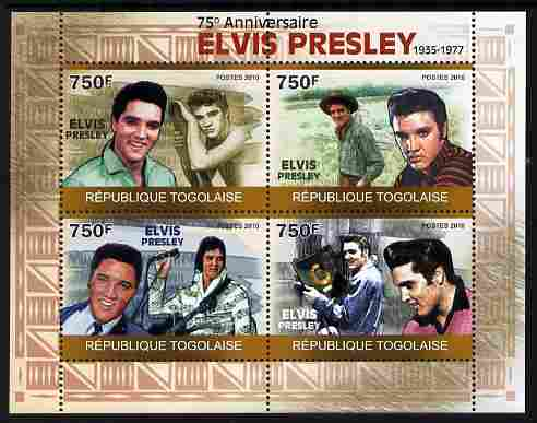 Togo 2010 75th Birth Anniversary of Elvis Presley perf sheetlet containing 4 values unmounted mint