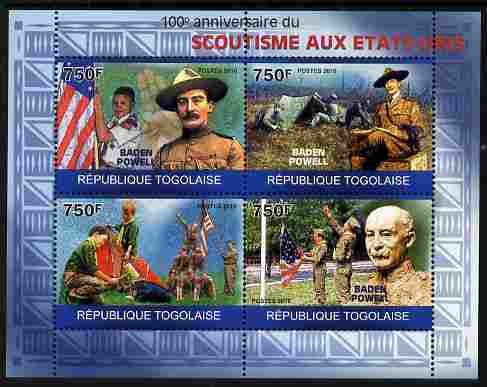 Togo 2010 Centenary of Scouting in United States perf sheetlet containing 4 values unmounted mint