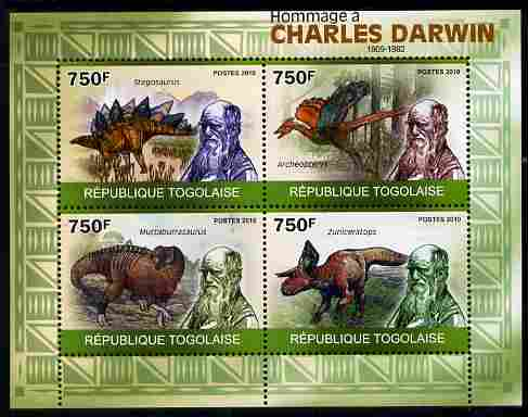 Togo 2010 Tribute to Charles Darwin perf sheetlet containing 4 values unmounted mint