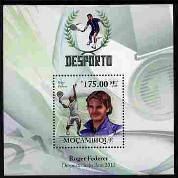 Mozambique 2010 Roger Federer (tennis) perf m/sheet unmounted mint