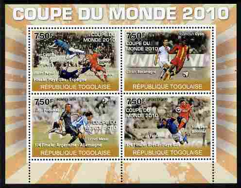 Togo 2010 Football World Cup #2 perf sheetlet containing 4 values unmounted mint