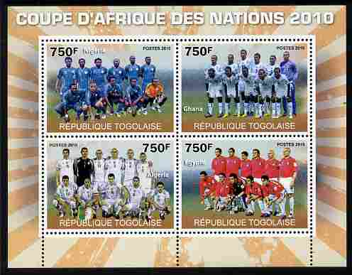 Togo 2010 Football Africa Cup of Nations #2 perf sheetlet containing 4 values unmounted mint