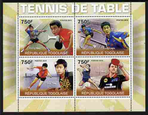 Togo 2010 Table Tennis perf sheetlet containing 4 values unmounted mint